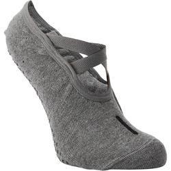 Calcetines antideslizantes Pilates y Yoga Domyos mujer gris