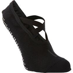 Ballerina-Socken rutschfest Fitness schwarz