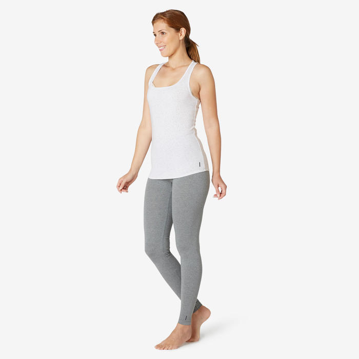 Débardeur Sport Pilates Gym Douce Femme 500 Regular Blanc