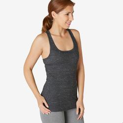 Top voor pilates en lichte gym dames 500 regular fit zwart