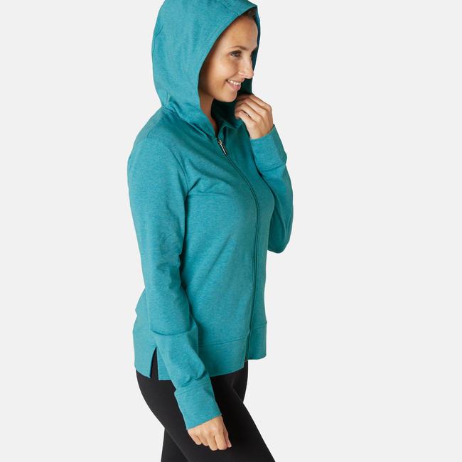 Women's Gym Training Jacket Hooded 100 - Green