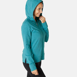 Women's Gym Training Jacket Hooded 100 - Green