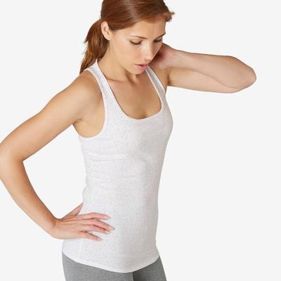 Women's Gentle Gym & Pilates Regular-Fit Tank Top 500 - White