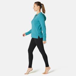 Trainingshoodie met rits voor dames 100 groen