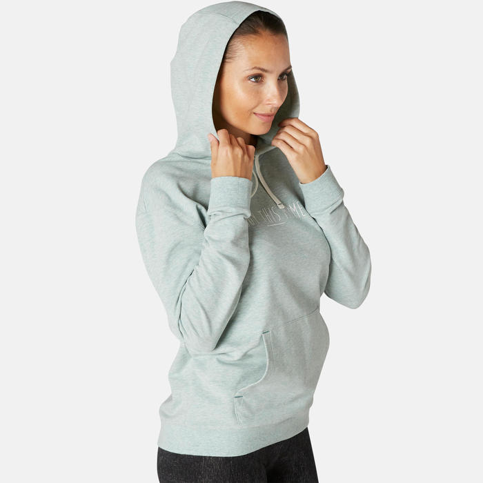 Sweat capuche Fitness Vert Clair Chiné