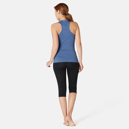 Tank Top Olahraga Pilates & Senam Ringan Regular-Fit Wanita 500 - Biru