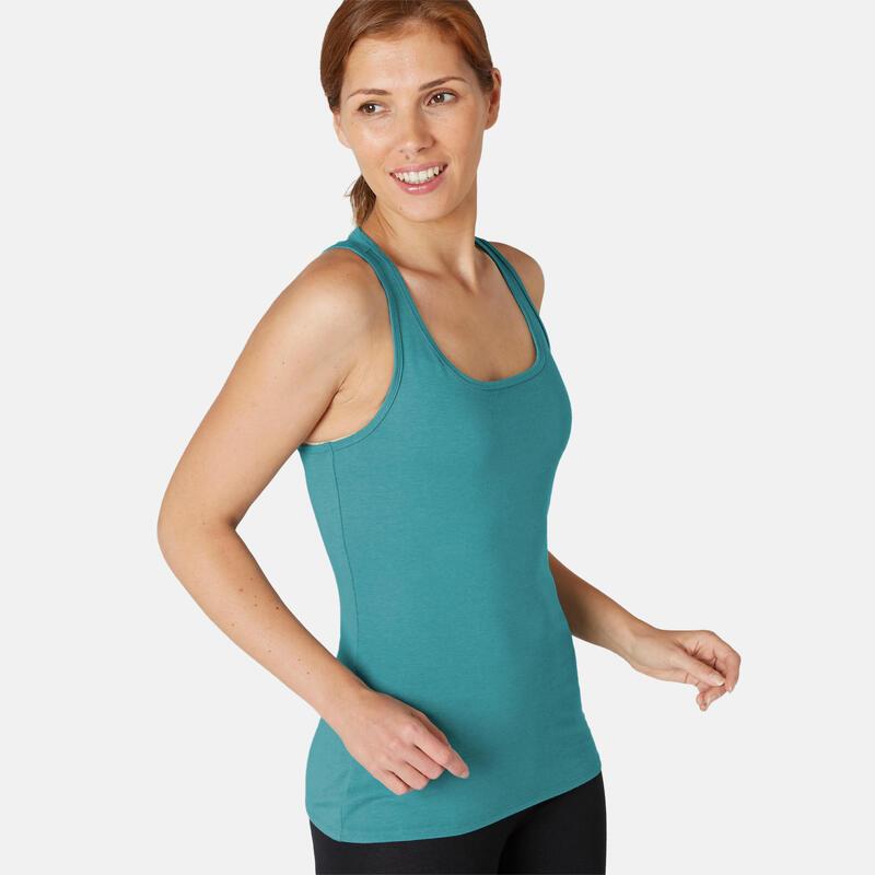 Stretch topje voor fitness katoen turquoise