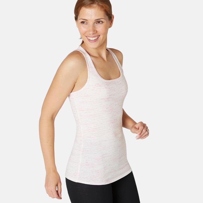 Débardeur Sport Pilates Gym Douce Femme 500 Regular Rose Pale Chiné