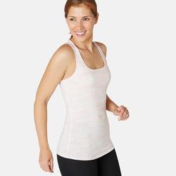 Topje voor pilates en lichte gym dames 500 regular fit gemêleerd lichtroze