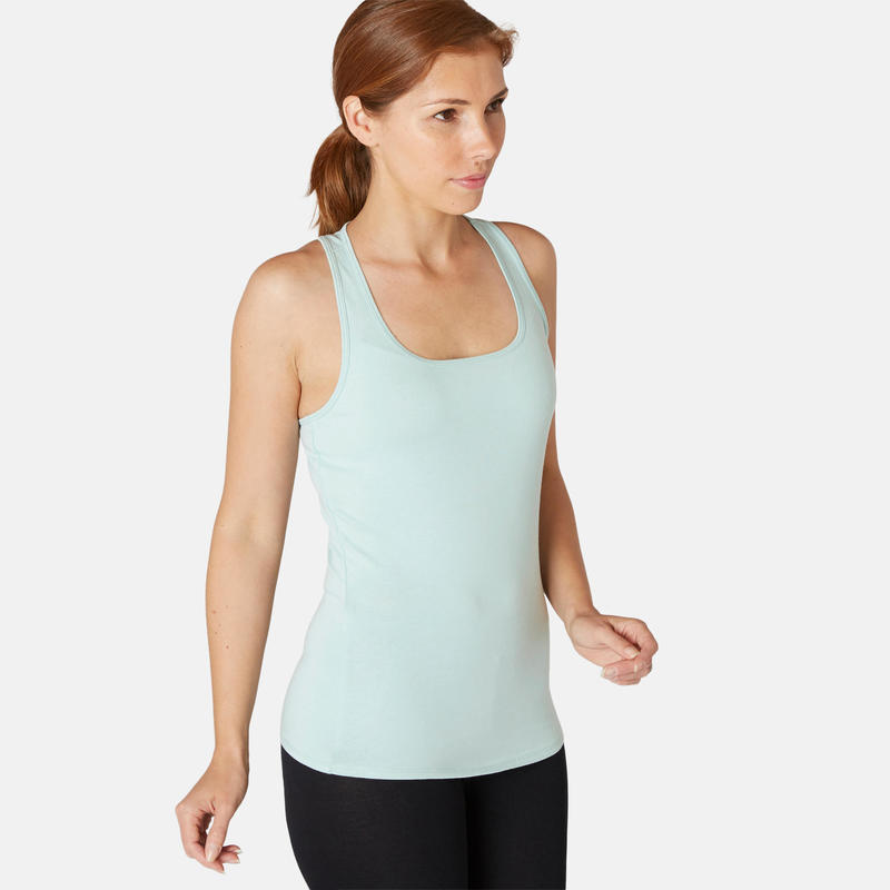 Stretch topje voor fitness katoen groen