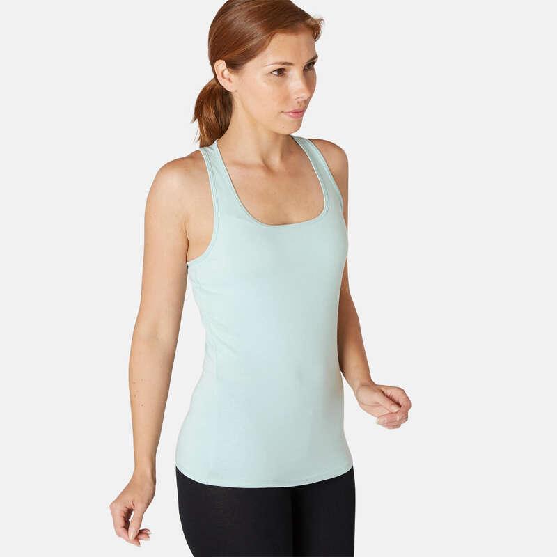 WOMAN T SHIRT LEGGING SHORT Pilates - Women's Gym Tank Top 500 Green DOMYOS - Pilates Clothes