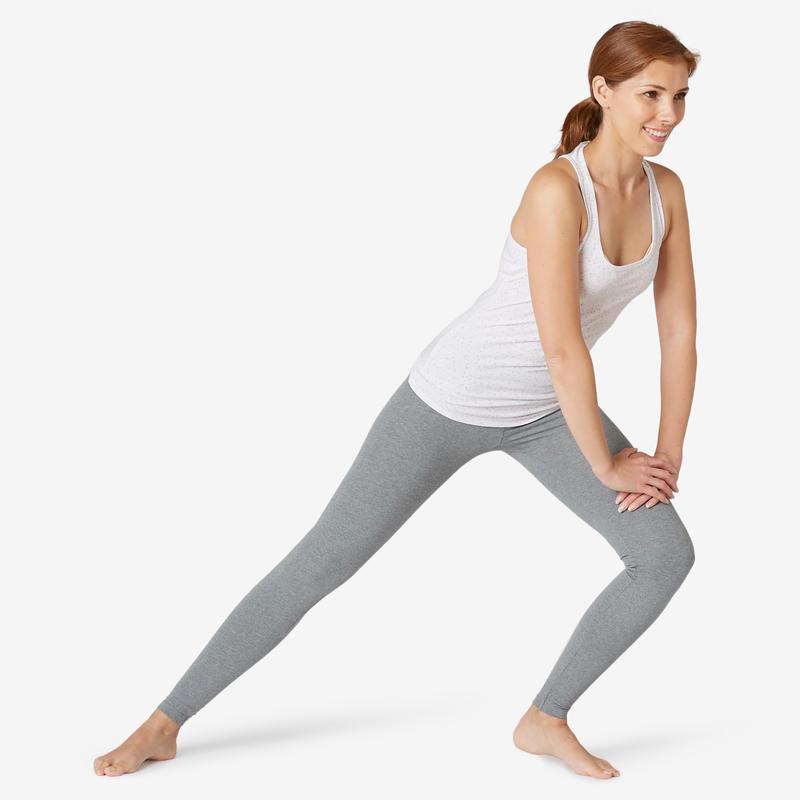 Tank Top Regular-Fit Untuk Gym Ringan & Pilates Wanita 500 - Putih
