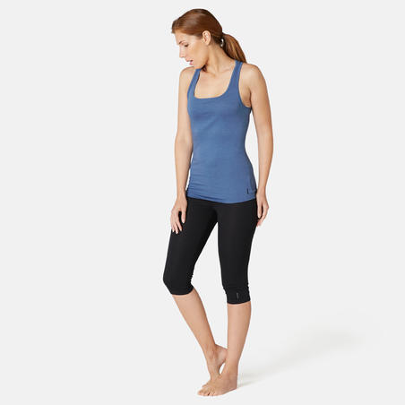 Women's Regular-Fit Pilates & Gentle Gym Sport Tank Top 500 - Blue