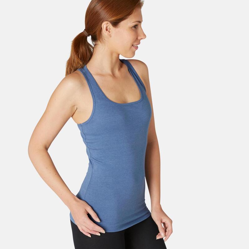 Débardeur Coton Extensible Fitness Bleu