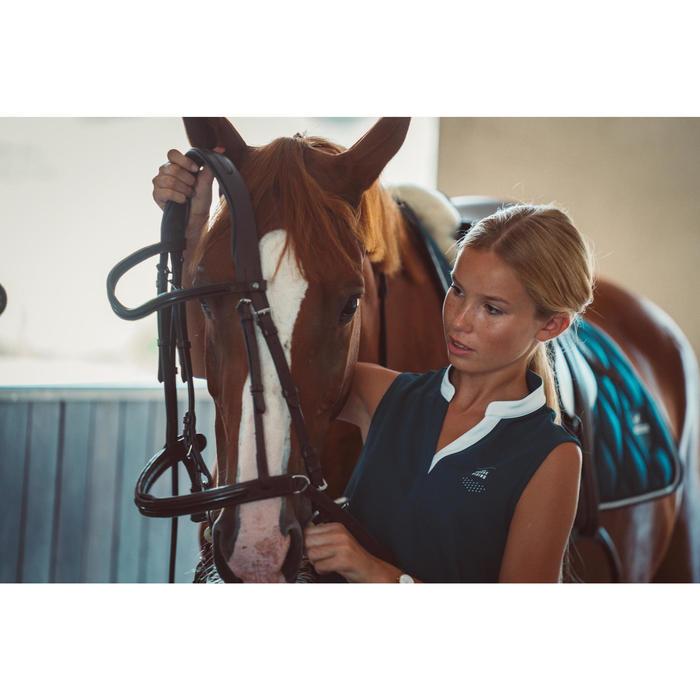 Mouwloze damespolo voor paardrijden 500 mesh petrolblauw