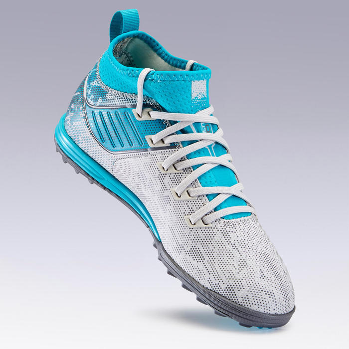 Kids' Hard Ground Football Boots Agility 900 HG - Grey/Turquoise