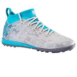 Chaussure de football enfant terrains durs Agility 900 HG grise et turquoise