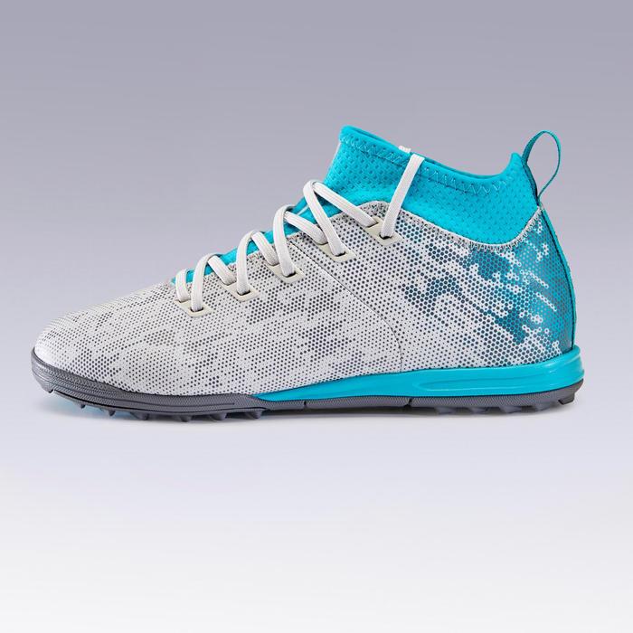Chaussure de football enfant terrains dur sAgility 900 HG grise et turquoise