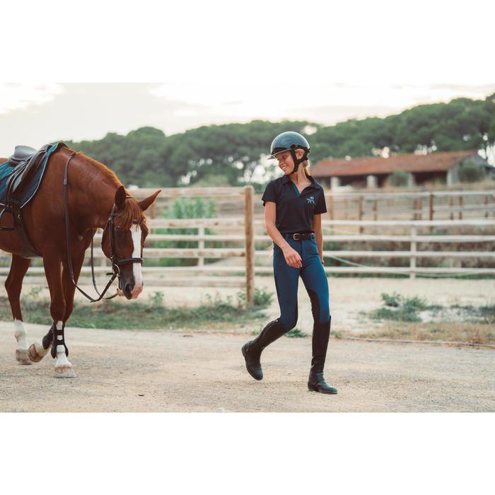 Polo voor paardrijden kinderen 500 mesh marineblauw/petrolblauw
