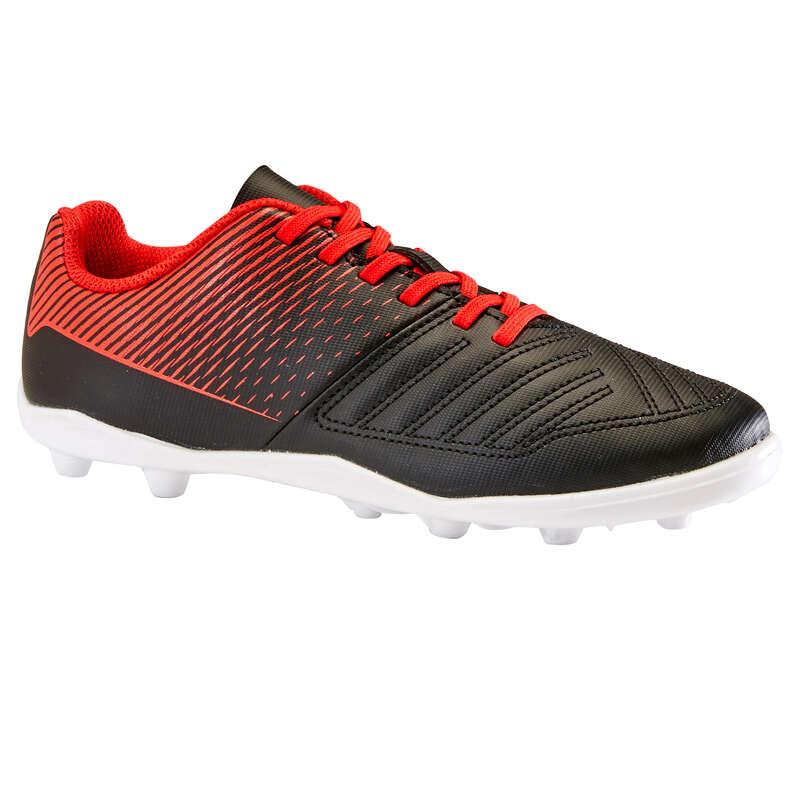 FOTBOLLSSKOR TORRT UNDERLAG JR Typ av sko - AGILITY 100 FG Svart Röd KIPSTA - Fotbollsskor