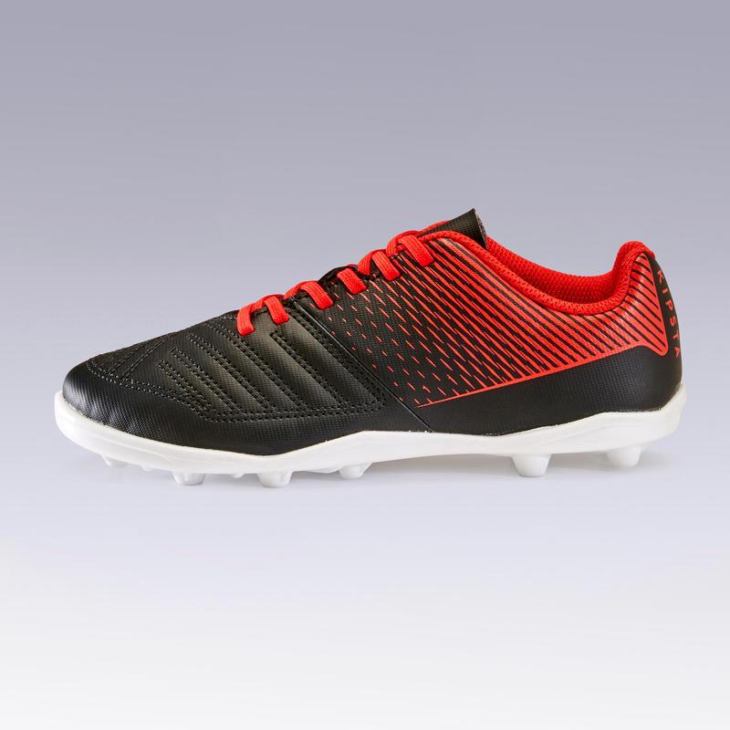 Zapatillas de Fútbol Terreno Seco Agility 100 FG Negro/Rojo