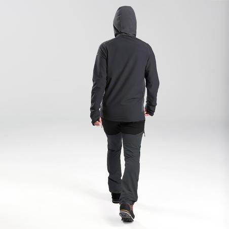 Softshell coupe-vent de rando montagne - TREK 900 Wind noir - Hommes
