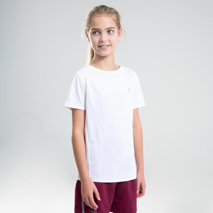 Tee-shirt d'athlétisme manches courtes respirant enfant AT 100 blanc