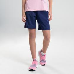 兒童款田徑寬鬆短褲AT 100藍色配粉紅色