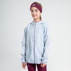 Veste enfant coupe vent d'athlétisme Kalenji AT 100 gris perle rose