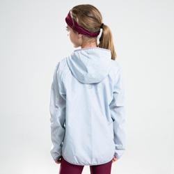 Windjack voor atletiek kinderen Kalenji AT 100 parelgrijs/roze