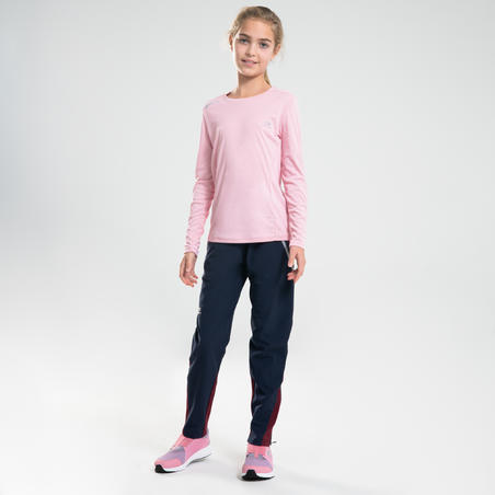 Children's lightweight trousers for athletics or sports at school - navy/purple