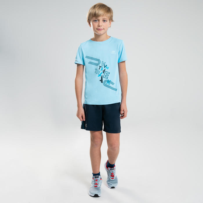 兒童款田徑T恤AT 300-淺藍色
