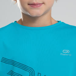 兒童款田徑T恤AT 300-藍綠色
