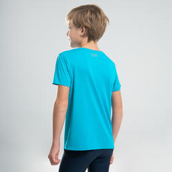 AT 100 KIDS' ATHLETICS T-SHIRT - TURQUOISE BLUE