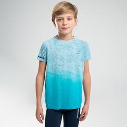 兒童款田徑T恤AT 500-藍綠色