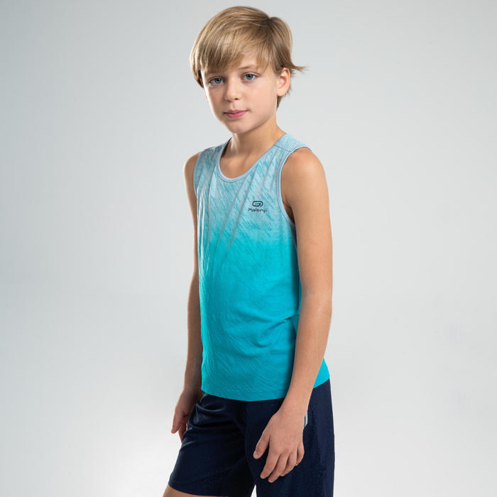 AT 500 KIDS' ATHLETICS TANK TOP - TURQUOISE BLUE