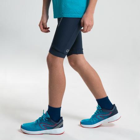 AT 500 KIDS' ATHLETICS TIGHT SHORTS - NAVY BLUE
