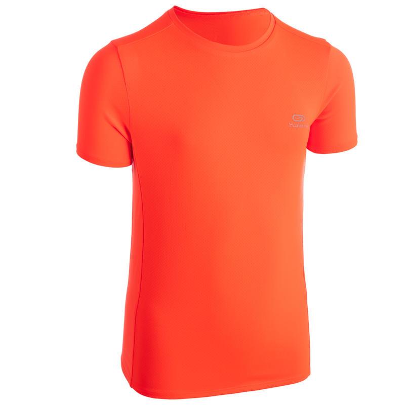 Tee shirt enfant d'athlétisme AT 100 orange fluo