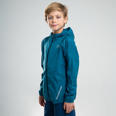 KALENJI AT 100 KIDS' ATHLETICS WINDPROOF JACKET - PETROL BLUE