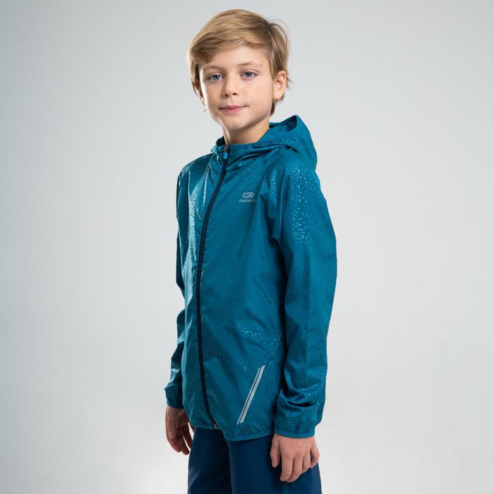 Windjack voor atletiek kinderen Kalenji AT 100 petroleumblauw