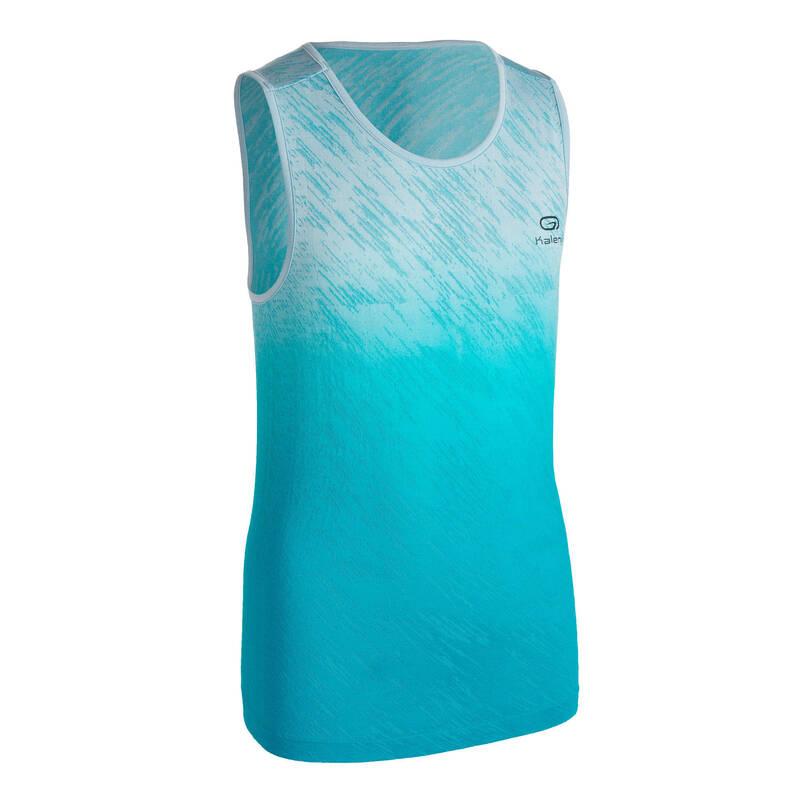 DĚTSKÉ OBLEČENÍ NA ATLETIKU Běh - TÍLKO NA ATLETIKU AT500 MODRÉ  KALENJI - Běžecké oblečení
