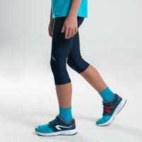 AT 100 KIDS' ATHLETICS CROPPED BOTTOMS - NAVY BLUE/TURQUOISE