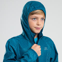 Windjack hardlopen kind Kalenji AT 100 petroleumblauw