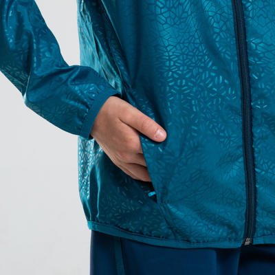 KALENJI AT 100 KIDS' ATHLETICS WINDPROOF JACKET - PETROL BLUE