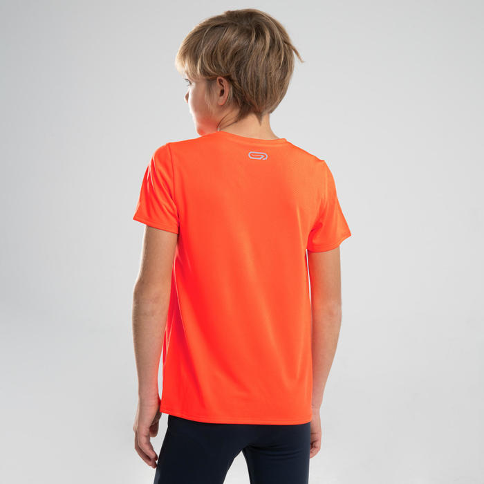 AT 100 KIDS' ATHLETICS T-SHIRT - NEON ORANGE