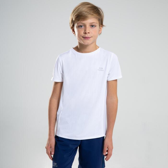 T-shirt de Atletismo de Manga Curta Respirável AT 100 Criança Branco