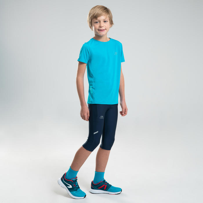 Kuitbroek atletiek voor kinderen AT 100 marineblauw/turkoois
