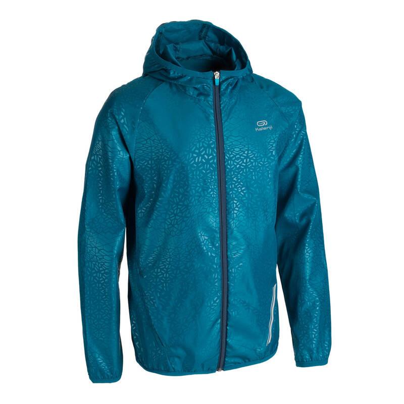 DĚTSKÉ OBLEČENÍ NA ATLETIKU Běh - VĚTROVKA AT100 MODRÁ  KALENJI - Běžecké oblečení