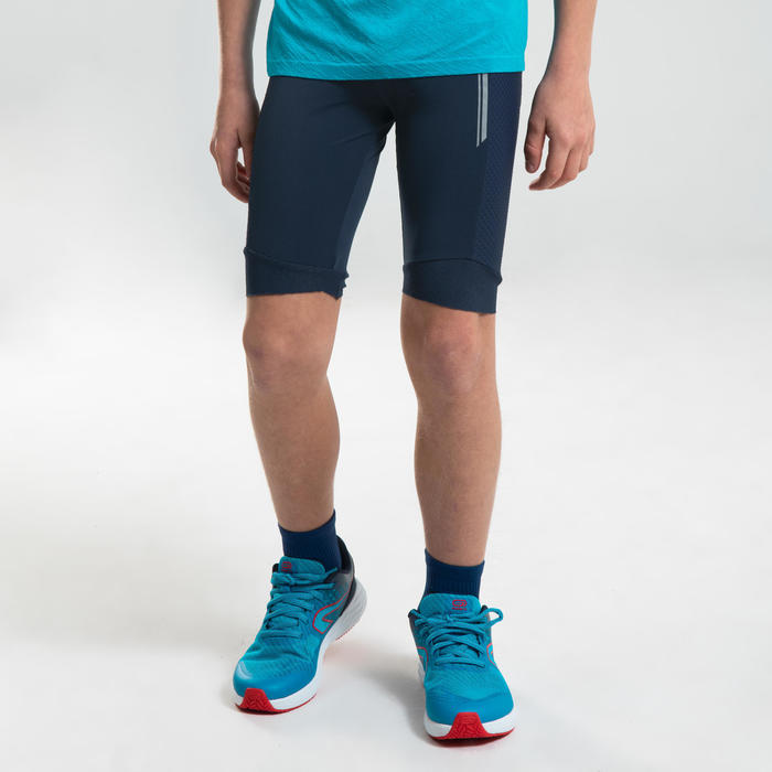 AT 500 KIDS' ATHLETICS TIGHT SHORTS - NAVY BLUE
