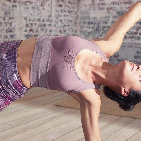Bra Olahraga Yoga Dinamis Panjang Tanpa Kelim - Plum/Perak
